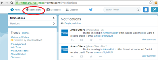Twitter Notifications from Amex Offers