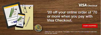 Visa Checkout: Get $20 Off $70 at Staples.com