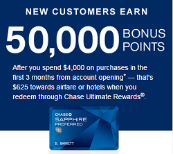 Chase Sapphire Preferred - 50,000 Points Bonus