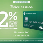 FNBO BucksBack Visa Card – 2% Cash Back On All Purchases