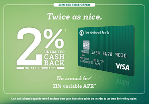 FNBO BucksBack Visa Card