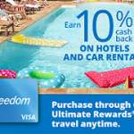 Chase Freedom: Get 10% Cash Back on Hotels and Car Rentals Through Chase Ultimate Rewards