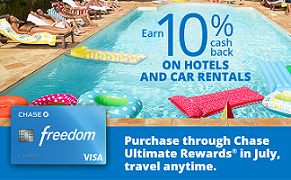 Chase Freedom 10% Back on Hotels and Car Rentals