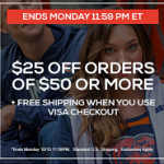 Get $25 off $50+ at Fanatics.com with Visa Checkout